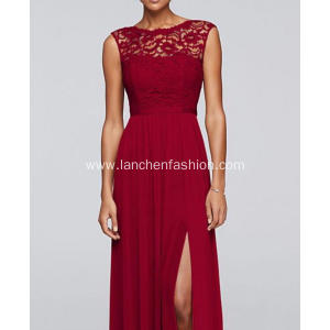 Red Chiffon Floor Length Dress with Lace