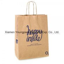 Custom impresso saco de papel natural reciclado marrom com alças torcidas