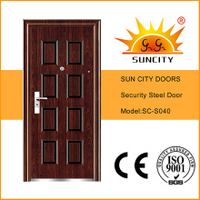 Top Sale 8 Panel Security Steel Doors Design (SC-S040)