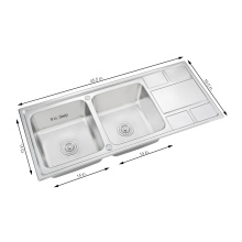 Countertop Commercial Bathroom Topmount Drainboard Stainless Steel Kitchen Sink With Drainer