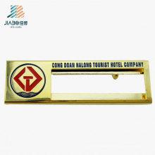 Insignia de nombre del metal del rectángulo del logotipo de la aduana del diseño para la promoción