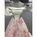 Elegant shining off shoulder pink A-line Evening Dress WT202