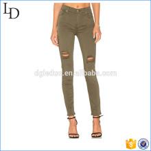 Zones de genoux en détresse les femmes leggings crayon pantalons femmes leggings crayon pantalon