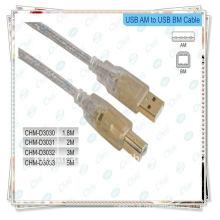 Cabo de impressora USB banhado a ouro, cabo USB 2.0 A macho a B macho