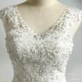 Sweatheart cuello en V profundo apliques de encaje vestido de cola larga con cuentas vestido de bola hinchada vestido largo de tren de lujo