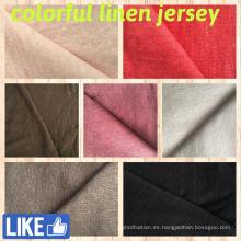 Tejido jersey de lino para camisetas (QF14-1546-sólido)