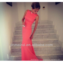 Formfitting Sheath High Neck Formal Long Coral Evening Dress Event Gown Free Shipping HED7