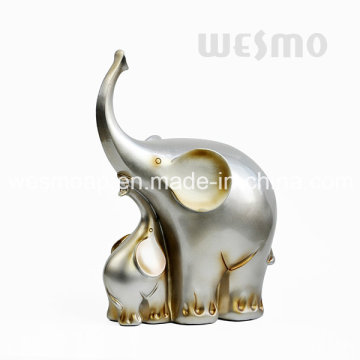 Baby Elephant and Mother Elephant Resin Tabletop Statue (WTS0005A)