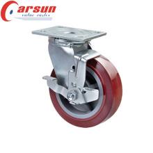 150mm Heavy Duty Swivel PU Wheel Castor (with metal side brake)