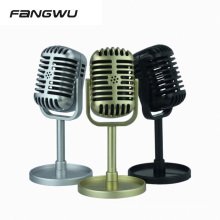 Non Working Booth Golden Retro Classical Vintage Microphone Mic With Round Base For Display