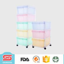 cajones plásticos de alta calidad del gabinete multicapa vendedor caliente con la rueda