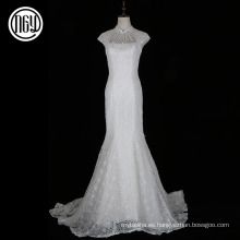Patrones de vestido de boda nupcial del cordón blanco por encargo vendedor caliente