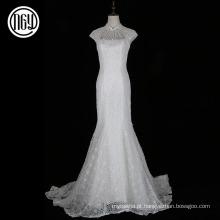 Venda quente custom made white lace padrões de vestido de casamento nupcial
