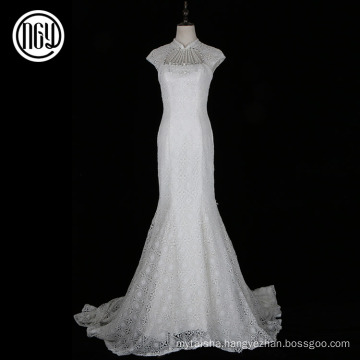 Hot selling custom made white lace bridal wedding dress patterns