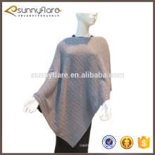 fashion cashmere knitted cable poncho shawl