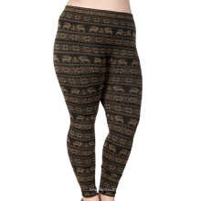 Women Reindeer Snowflake Pattern Footless Seamless Jacquard Leggings
