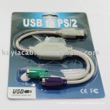 Novo USB para PS 2 adaptador de cabo para teclado do mouse do PC