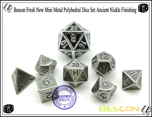 Bescon Fresh New Mini Metal Polyhedral Dice Set Ancient Nickle Finishing-3