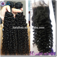 Wholesale Price Human Virgin Hair 4*4 Malaysian Virgin Hair Curly Lace Closure Piece