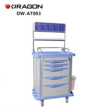 Chariot médical d'anesthésie d'hôpital avec des roues silencieuses avec des freins croisés