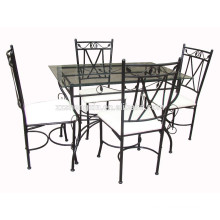 1+4 Dining Sets Glass Metal Dining Table Set
