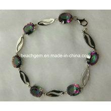 Moda brazalete de joyería de plata topacio místico (BR0029)