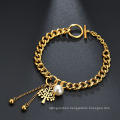 Pearl 18K Gold Plating Chain Tree Of Life Bracelet