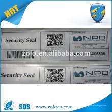 Impression personnalisée Tamper Evident Warranty VOID Autocollant avec codes barres code QR autocollants