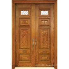 Porte en bois massif double style classique avec verre