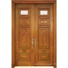 Porta dupla de madeira maciça estilo tradicional com vidro