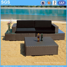 Garden Hotel Sofa PE Rattan Sofa with Coffee Table