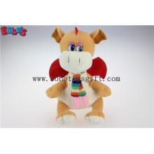 Lovely En71 genehmigt Brown Plüsch gefüllte Dinosaurier Kinder Spielzeug mit Schal Bos1200