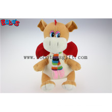 Lovely En71 Approved Brown Plush Stuffed Dinosaur Children Toy with Scarf Bos1200