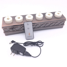 Commercial Grade Set of 6 Moving Wick Flameless Rechargeable Tea Light LED Candle
