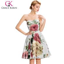 Grace Karin 2016 New Design Strapless Sweetheart Neckline Flower Pattern Knee Length Chiffon Short Prom Dress GK000032-1