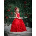 Decoración de la flor de Rose ropa de baile niña encima de la rodilla Una línea de bebé sin mangas de la niña vestido de flores fotos de sexo caliente
