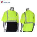 2018 New Fashionable 100% Polyester Birdseye Mesh T-shirts haute visibilité Respirant Chemise de travail réfléchissante avec poche