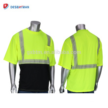 China New Mens Hi Vis Crew Neck camiseta de seguridad amarilla y negra ANSI Class 2 wearwear de manga corta reflectiva ALTA VISIBILIDAD