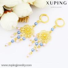 bijoux de boucle d'oreille de couleur de la mode 24k goldc, boucle d'oreille bon marché de baisse de fleur