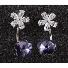 Zircon Gold Plated Plum Flower Petals Hanging Earrings