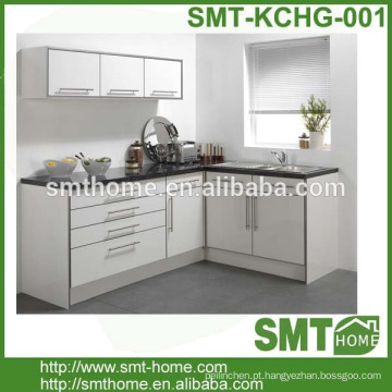 armário de cozinha modular de alto brilho do estilo europeu da cor branca