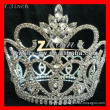 Large clear and round rhinestone pageant crowns