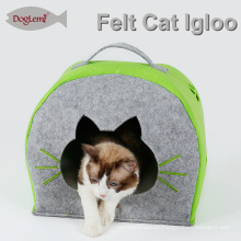 Natur Filz Katze Iglu Haus Winter Pet Cave mit abnehmbarem Kissen