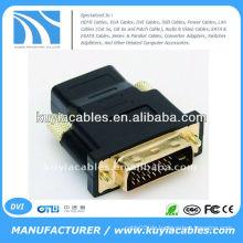 Gold DVI Stecker auf HDMI Buchse Adapter / Konverter