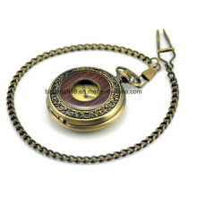 로마 숫자와 빈티지 청동 나무 기계식 주머니 시계