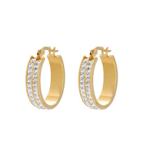 E-608 xuping fashion New arrival Rhinestone  24K gold color simple Hoop Earrings for women