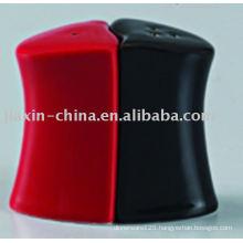 Black and red color ceramic salt and pepper JX-22BR