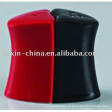 Sal e pimenta de cerâmica de cor preta e vermelha JX-22BR