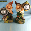 2 Asst Polyresin Dwarf with Solar Light Garden Gnome Decoration