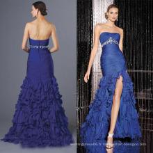 HE451 au large de l'épaule bretelles bretelles corsage grands cristaux brillants châssis à l'empire train de balayage de la taille bleu haut bas robes de soirée